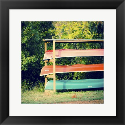 Framed Caddo Canoes 1 Print