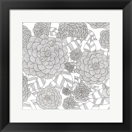 Framed Wild Hydrangeas Less Print
