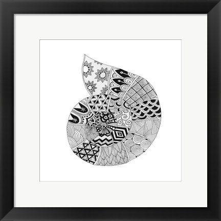 Framed BW Decorated Nautilus Print