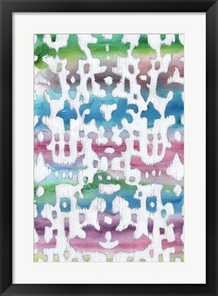 Framed Watercolor Ikat I Print