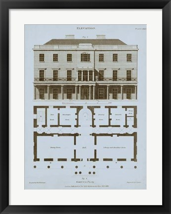 Framed Chambray House & Plan II Print