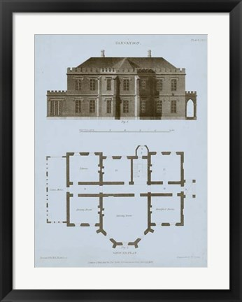Framed Chambray House & Plan III Print