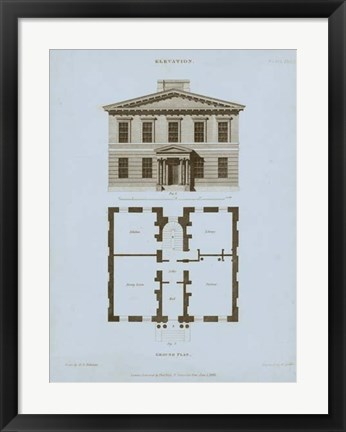 Framed Chambray House & Plan IV Print