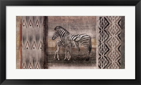 Framed Tribal Zebras Print