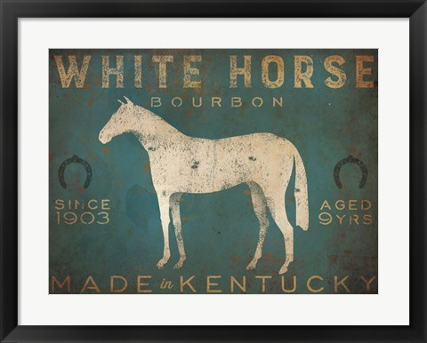 Framed White Horse with Words Blue Print