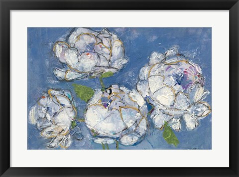 Framed Vase of Peonies Crop Print