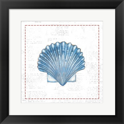 Framed Navy Scallop Shell on Newsprint with Red Print