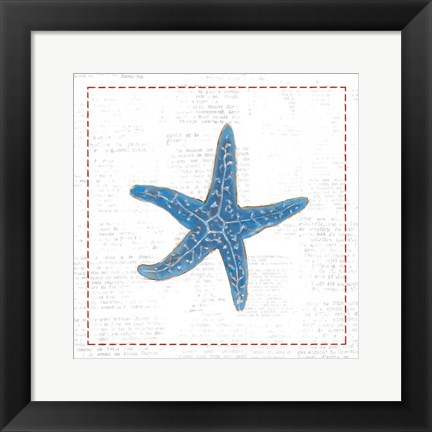 Framed Navy Starfish on Newsprint with Red Print