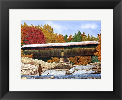 Framed Fishing At The Swiftwater Bridge Print