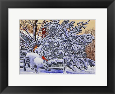 Framed Cardinals At The Mailbox Print