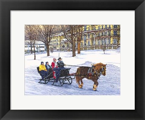 Framed Horse-Drawn Bobsled Print