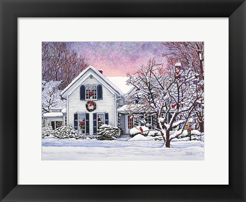 Framed Christmas Cardinals, Orchard Park, NY Print