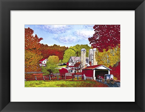 Framed Covered Bridge And Buggy, Lancaster Co, Pa Print