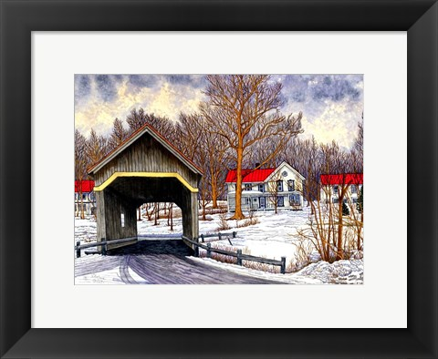Framed Covered Bridge Warren Vt Print