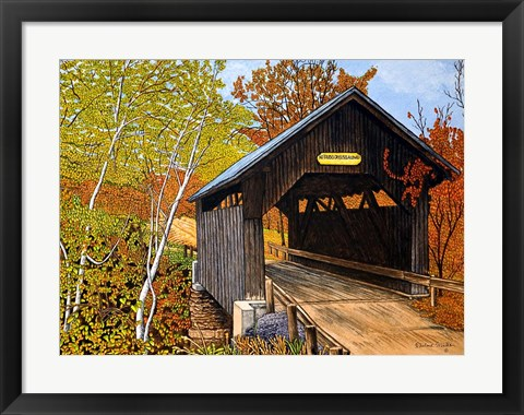 Framed Covered Bridge Waterbury Vt Print