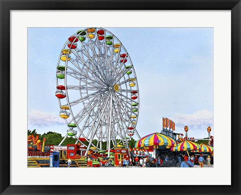 Framed Ferris Wheel Erie County Fair, Hamburg Ny Print