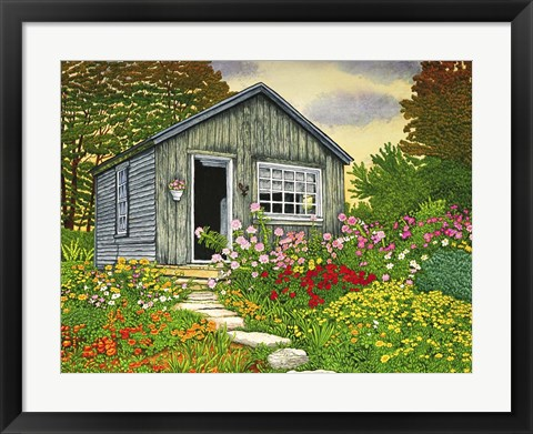 Framed Flower Shed II, Arlington Vt Print
