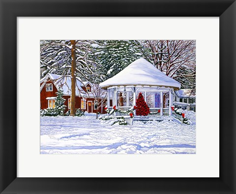 Framed Gazebo At Ellicottville, Winter Print