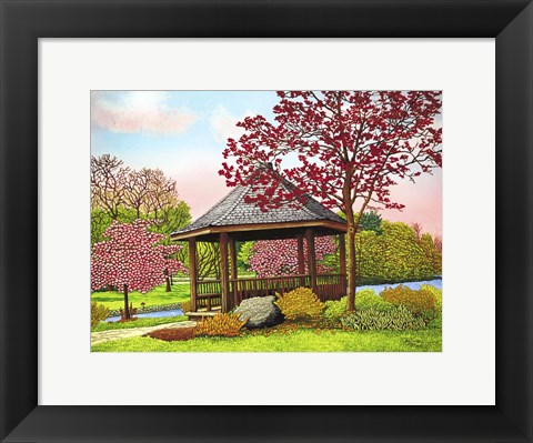 Framed Green Lake Gazebo, Orchard Park, Ny Print