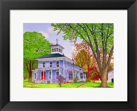 Framed House Of The Red Door, Yorkshire Ny Print