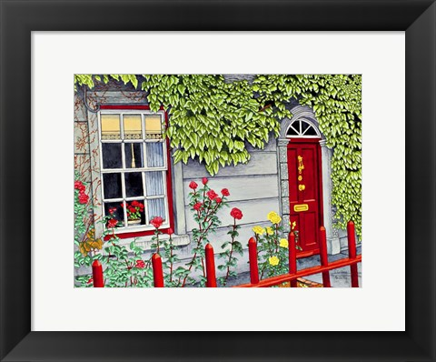 Framed Ireland - Red Fence, Adare Co Limerick Print