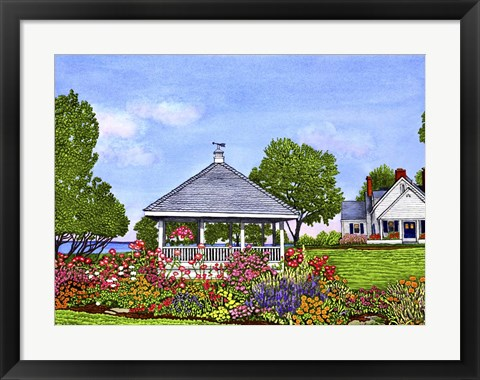 Framed Lakeshore Gazebo, Derby Ny Print