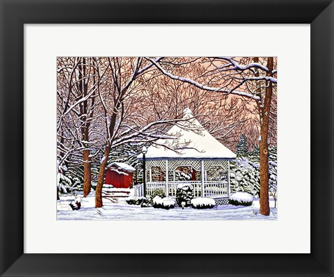Framed Morgan's Gazebo, Hamburg Ny Print