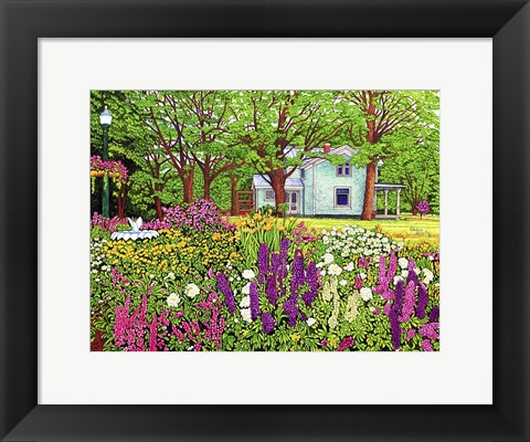 Framed North Boston Road Flower Garden, Eden Ny Print