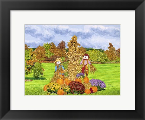Framed Pumpkins And Scarecrows, Eden Ny Print