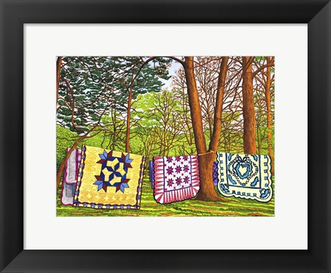 Framed Quilts In The Woods, Bird-In-Hand Pa Print