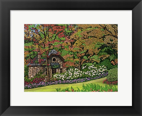 Framed Stone Cottage, Canada Print