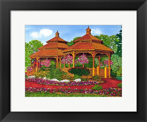 Framed Two Gazebos, Hershey Pa Print