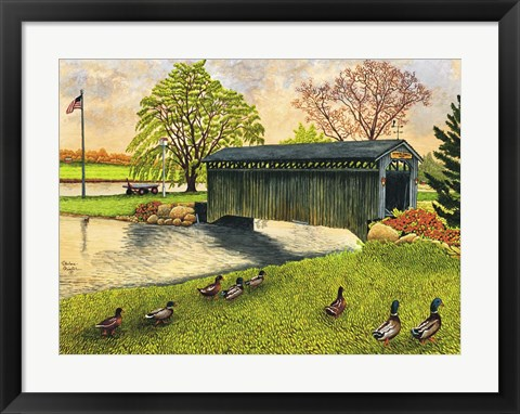 Framed Winter's Covered Bridge, North Collins Ny Print