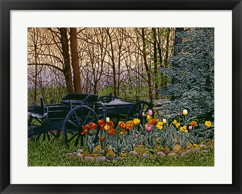 Framed Tulips And Wagon Wheels Print