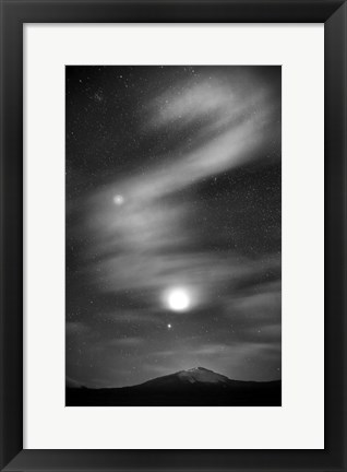 Framed Diamond Lake Moon Streak Print