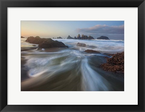 Framed Seal Rock Horiz Torrent Print