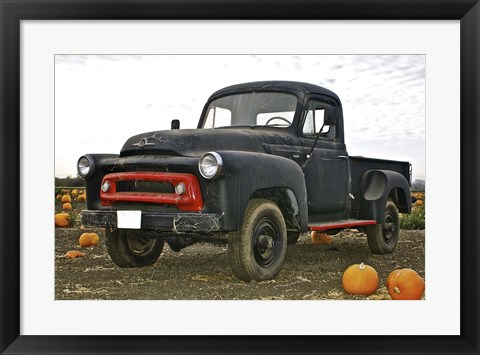 Framed Black Truck In Pumpkin Patch 3 Print