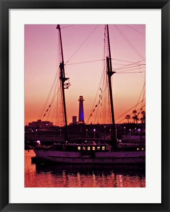 Framed Long Beach Harbor at Night Print