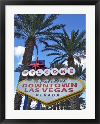 Framed Welcome To Downtown Vegas Print