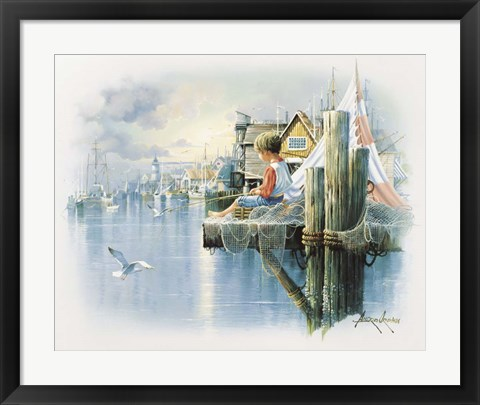 Framed Fishing Dock B Print