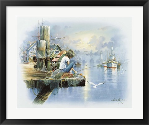 Framed Fishing Dock D Print
