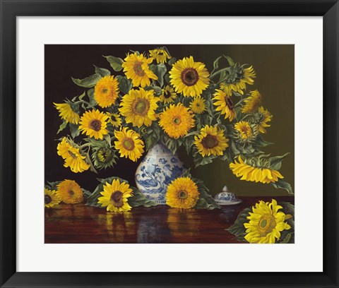 Framed Sunflowers in Blue and White Vase Print