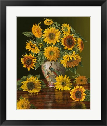 Framed Sunflowers In A Peacock Vase Print