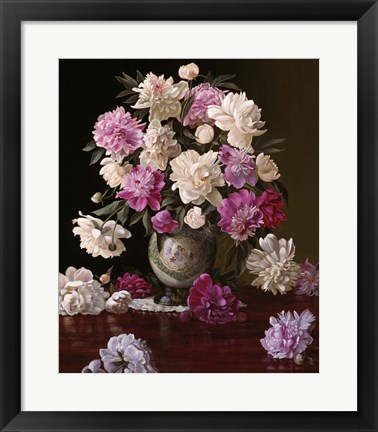 Framed Peonies in a Japanese Vase Print