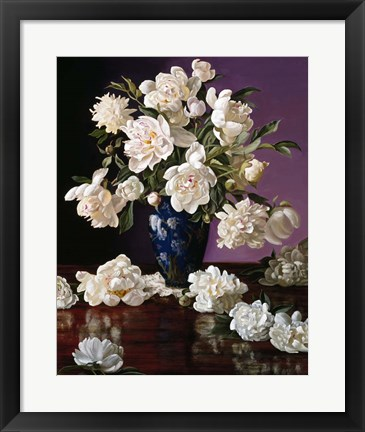 Framed White Peonies in Blue Chinese Vase Print