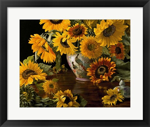 Framed Sunflowers in a White Chinese Vase Print