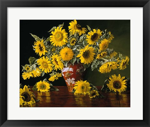 Framed Sunflower in a Red Chinese Vase Print
