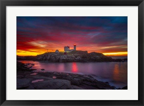 Framed Sunrise over Nubble Light Print