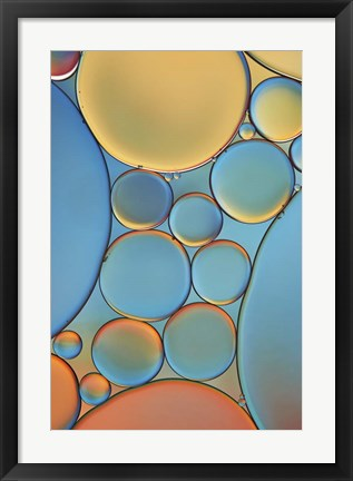 Framed Blue and Apricot Drops Print