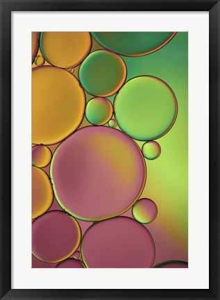 Framed Green and Orange Drops Print